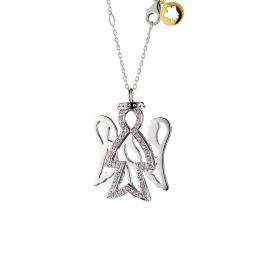 Přívěsek - anděl z bílého zlata a diamanty, PZ508