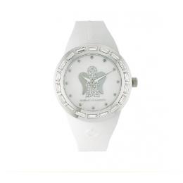 Bílé hodinky s andělem, velký ciferník ANT02