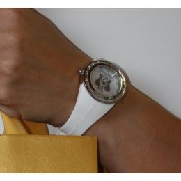 Bílé hodinky s andělem, střední ciferník, ANT04