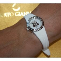 Bílé hodinky s andělem, malý ciferník ANT07