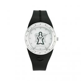 Černé hodinky s andělem, střední ciferník, ANT03